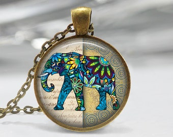 Elephant Glass Pendant - Elephant Jewelry - Antique Bronze Necklace - Art Pendant - Elephant  Necklace -Elephant  Charm