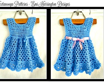 CROCHET Baby Dress PATTERN - ELLYN - Girl's Dress - Patterns for kids, babies, newborn, toddlers, children, to age 6 - number 990