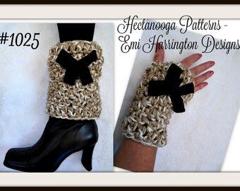 CROCHET pattern - Boot Cuffs & Fingerless Gloves - age 5 to adult large, #1026, Christmas Gift idea, easy, quick chunky style, pebble stitch
