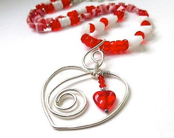 Sterling Silver Heart Pendant, Red and White Necklace, Sparkly Holiday Jewelry, Romantic Gift for Women, Czech Glass, Swarovski Crystals