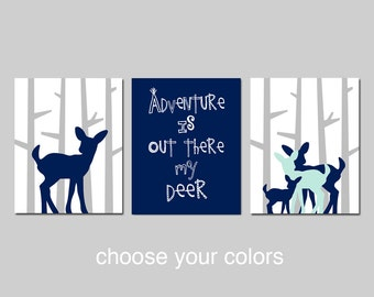 DEER Nursery Decor WOODLAND Boy Nursery Art Trio - ADVENTURE Is Out There Teepee, Woodland Deer - Set of Three Prints - Choose Your Colors