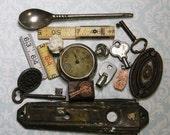 Assemblage Lot- Escutcheon Hardware- Pocket Watch- Skeleton Keys- Doll Head- Watch Part- Rulers
