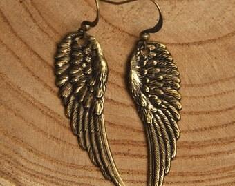 Earrings- ANGEL WINGS- Gold tone- Guardian Angel Jewelry- Gift Boxed