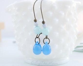Long Blue Earrings - Blue Czech Glass Teardrops - Amazonite Stone Earrings - Agate Earrings - Kidney Wire Earrings - Long Blue Glass Earring