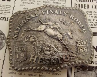 1986 National Finals Rodeo Hesston belt Buckle Bareback Bronc Horse Rider NFR Sealed