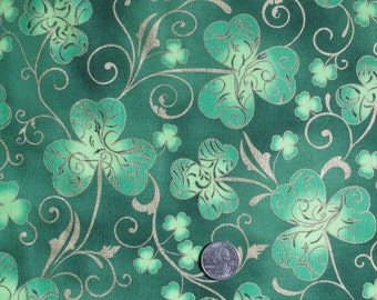 "Hoffman Fabric 100% Cotton Print 45"" wide BTY Green Shamrocks Clover for St. Patrick's Day Irish Metallic"