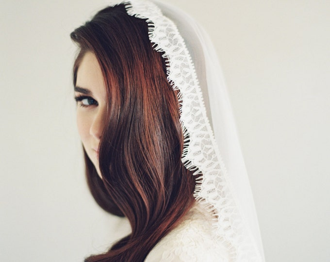 Lace Mantilla Veil, Wedding Veil, Eyelash, Chantilly Lace, English Net Veil, Mantilla Veil, Cathedral Length Veil, English Veil, 1614