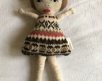 Little girl softie | baby toy | recyced woollen toy| sustainable toy|