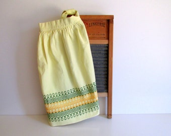 Mid Century Vintage Apron Yellow Cotton Hand Embroidered 1950's Housewife