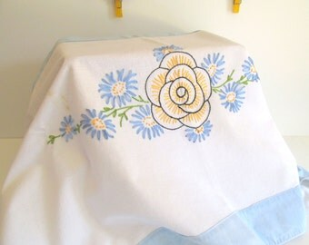 Vintage Table Runner Dresser Scarf Hand Embroidered White Light Blue