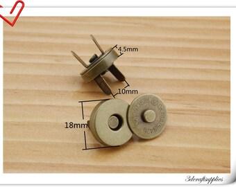 18mm Antique Brass Color Magnetic Snaps Per Bag of 20 Sets Magnetic Fastener   F7