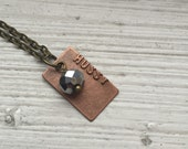HUSSY Stamped Metal Pendant with Brass Chain
