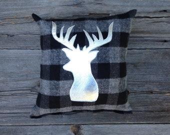 Silver Deer Pillow, Buck Pillow, Lodge Decor, Cabin Decor, Antler Pillow, Pillow, Decorative Pillow, Gifts Under 30