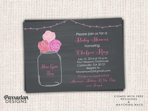 Mason Jar Baby Shower Invitation, Mason Jar Baby Shower, printable, digital invitation, {BS20}