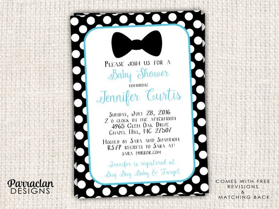 Bow Tie Baby Shower Invitation,  Bow Tie Baby Shower, Digtial, Printable, Printed, BS6