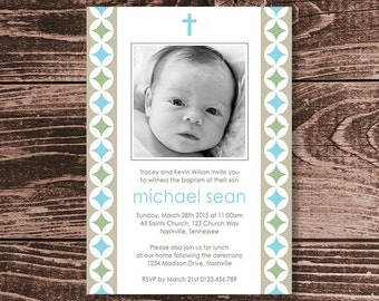 Baptism or Christening Invitation  – Photo Printable Personalized – Modern Circles Boy (Digital File)