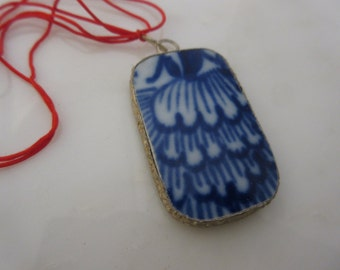 Pottery Shard Pendant, Broken China, Broken Plate, Blue and White, Destash