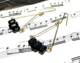 Jet Black Crystal Triangle Earrings Swarovski Rectangle Earrings Gold Wire Earrings Pendulum Earrings