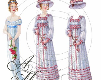 Shabby Vintage Chic Victorian Regency Paper Doll Lady Two Dresses Hats Play House Scrapbooking Cardstock Tag Digital Download Images - dd21