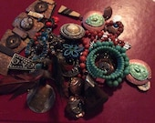 Repurpose Brown Tribal Exotic Nature Turquoise Southwest Beaded Salvage Necklace lot destash harvest