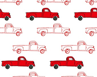Red Fabric - Vintage Red Truck By Shopcabin - Red Cotton Fabric By The Yard With Spoonflower