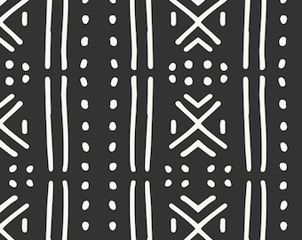 Mud Cloth Fabric - Line Mudcloth Dark By Holli Zollinger - Black and White African Cotton Fabric By The Yard With Spoonflower