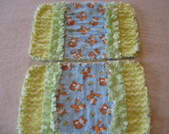 2 New Sweet Little Foxes Baby Boy Burp Cloths with Minky backing
