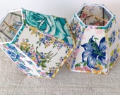 Small Lamp Shade, Handmade Lampshade made with Vintage Floral Hankies, 4x8x6 Hex Clip, Bedroom Decor, Cottage Style