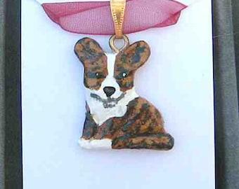 Sculpted WELSH CORGI CARDIGAN Sitting Handpainted Clay Necklace/Pendant Choose Merle or Brindle
