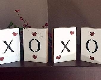 Valentine blocks, set of 4, XOXO!