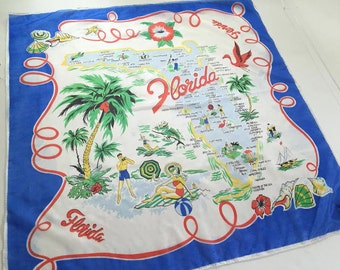 Vintage Florida scarf 1950s MWT flamingo palm tree bathing beauties Floridiana souvenir travel kitsch original tag