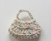 Handmade Ellowyne Gene Clothes Purse Handbag Crochet Light Beige Speck
