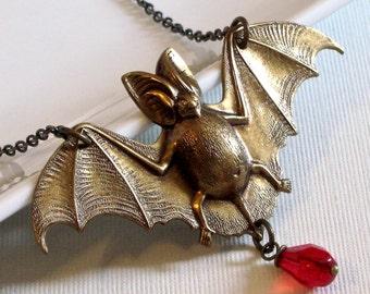 Brass Bat Necklace -  Halloween Jewelry, Bat Jewelry