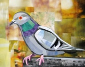 The Exotic Pigeon, 5x7 inch ORIGINAL COLLAGE ART