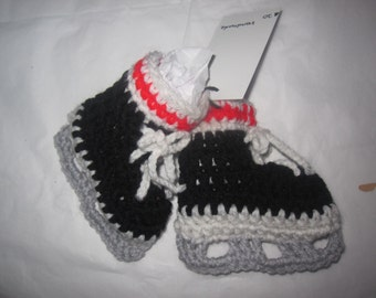 Baby Boy Booties Hockey Ice Skates Black Red White Sox Grey Blade Sports Fan Crochet  0 - 6 month Newborn Infant Birth Gift Shower Present