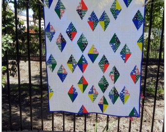 Colorful Flying Kites Water Land Baby Quilt