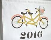 2016 Wall Calendar, Tea Towel, Wedding Gift, Customized Gift for Couple, Anniversary Gift, Linen Anniversary, Bike Art, Kitchen Wall Hanging