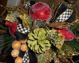 Mac kenzie Tuxedo Check Ribbon on my custom Floral Arrangement