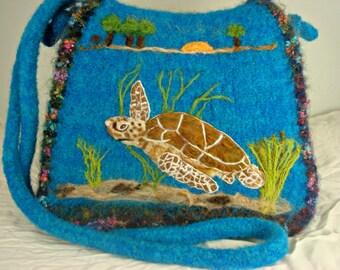 Felted Purse, Felted Sea Turtle, Felted Handbag, Needle Felt Turtle