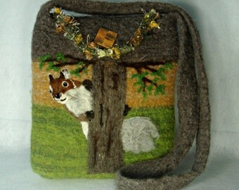 Felted Purse,Felted Tote, Squirrel Art, Hand Made Felted Purse,Needle Felt Squirrel