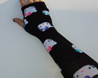 Black Hello Kitty gloves fingerless mittens/ arm warmers, winter fashion, keyboarding gloves