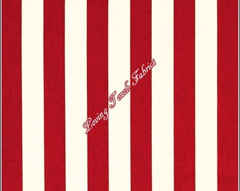 "Andover ""Fresh Market Flowers"" #7133R Red & White Stripes Cotton Fabric Priced Per 1/2 Yard"