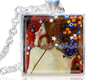 "Klimt's Serpent 1"" Square Glass Pendant or with Necklace - SQ124"