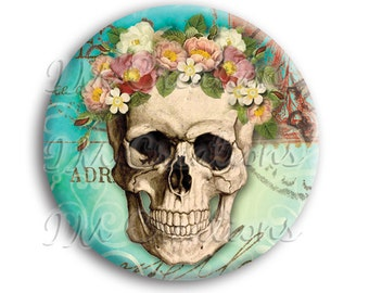 "Flower Skull Pocket Mirror, Magnet or Pinback Button - Wedding Favors, Party themes - 2.25"" MR517"