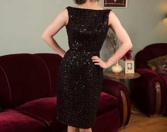 50% OFF SALE - Vintage 1950s Dress - Sexy Fitted Black Sequined Cocktail Dress with Low Back