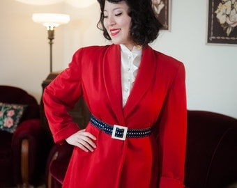Vintage 1940s Coat - Vibrant Lipstick Red Gabardine Post War 40s Swing Jacket with Hip Pockets