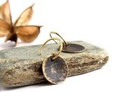 ON SALE SALE - Black Gold Dangle Drop Earrings Rustic Patina Textured Brass Round Circle Boho Jewellery