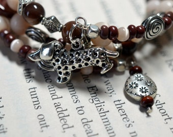 Dachshund Doxie dog chocolate brown and cream glass bead memory wire wrap bracelet hand designed