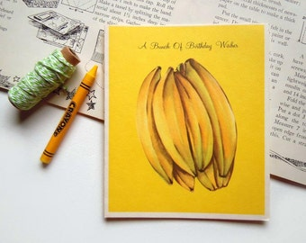 Vintage Unused Birthday Yellow Greeting Card | With Banana Nut Cake Recipe on the Back