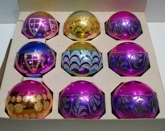 Vintage 1960's Shiny Brite Glass Christmas Bulbs Frosted Glitter Set of 9 Ornaments Decorations